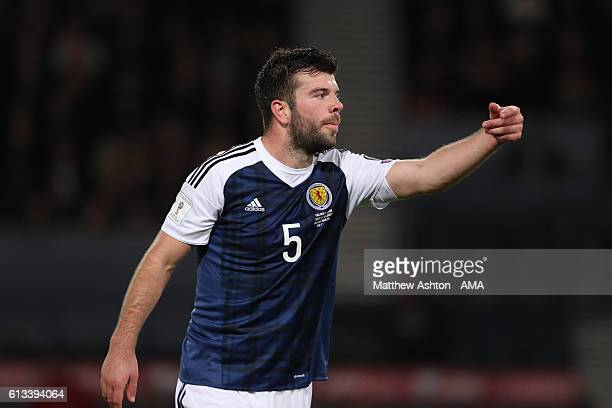 Grant Hanley of Scotland during the FIFA 2018 World Cup Qualifier between Scotland and Lithuania at Hampden Park on October 8 2016 in Glasgow Scotland