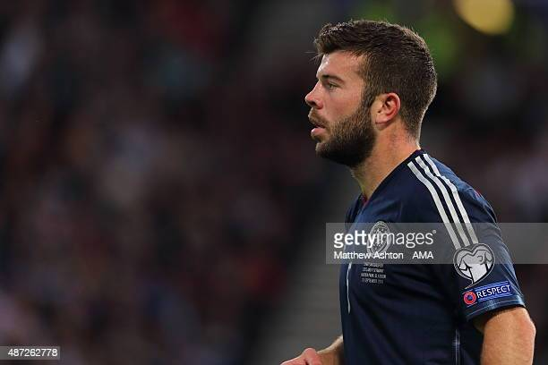 Grant Hanley of Scotland during the UEFA EURO 2016 Qualifier Group D Scotland v Germany at Hampden Park on September 7 2015 in Glasgow Scotland