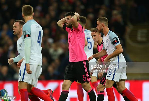 Grant Hanley of Scotland reacts after missing a chance during the FIFA 2018 World Cup Qualifier between England and Scotland at Wembley Stadium on...
