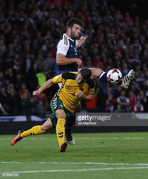 Grant Hanley of Scotland shoots at goal during the FIFA 2018 World Cup Qualifier between Scotland and Lithuania at Hampden Park on October 8 2016 in...