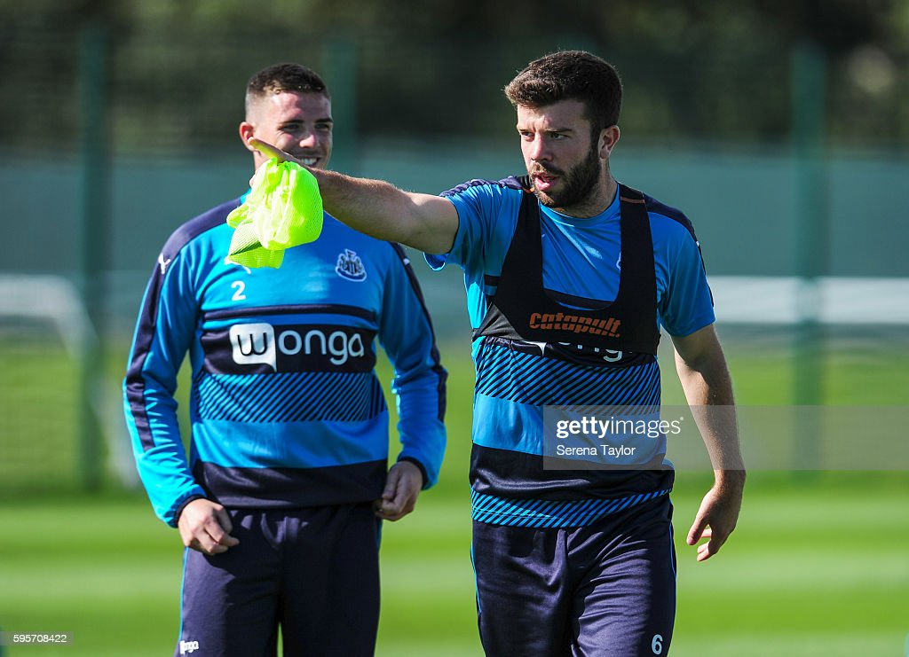 Grant Hanley points during the Newcastle United Training Session at The Newcastle United Training Centre on August 26 in Bristol England