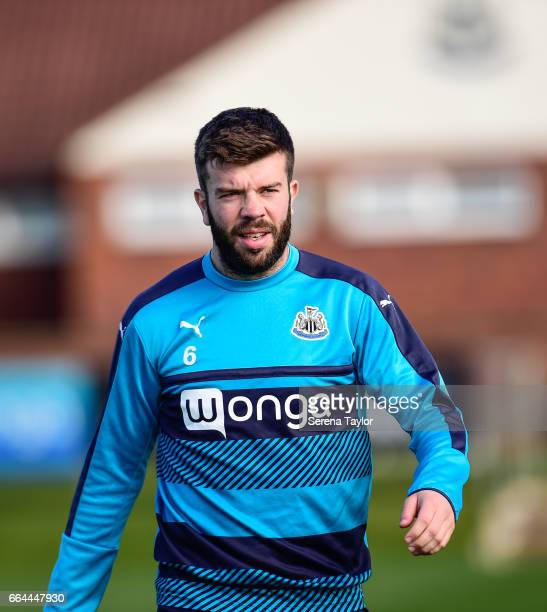 Grant Hanley walks outside during the Newcastle United Training Session at The Newcastle United Training Centre on April 4 2017 in Newcastle upon...