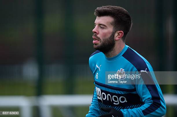 Grant Hanley warms up during the Newcastle United Training Session at The Newcastle United Training Centre on January 31 2017 in Newcastle upon Tyne...