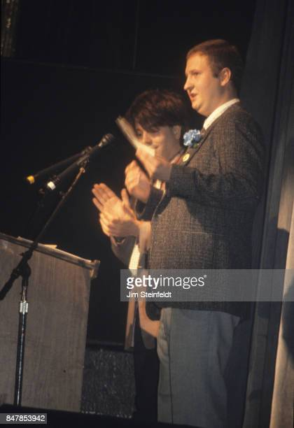 Grant Hart and Bob Mould of the rock band Husker Du accept the award for best Garage Band at the Minnesota Music Awards in Bloomington Minnesota on...