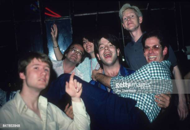 Grant Hart drummer and songwriter for the hard rock punk band Husker Du with friends including members of DePeche Mode at Hart's Loft in St Paul...
