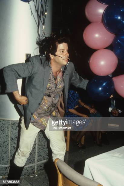 Grant Hart drummer and songwriter for the rock band Husker Du plays with balloons at the Minnesota Music Awards in Minneapolis Minnesota on May 12...