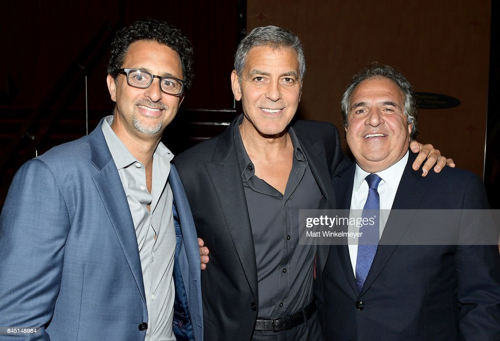 Grant Heslov, George Clooney and Chairman/CEO of Paramount Pictures Jim Gianopulos attend the premiere of 'Suburbicon' during the 2017 Toronto International Film Festival at Princess of Wales on September 9, 2017 in Toronto, Canada.
