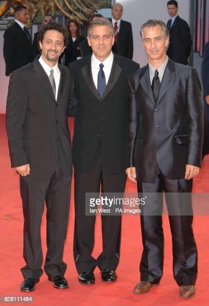 Grant Heslov George Clooney and David Strathairn arrive for the Ceremonia Di Premiazione Ufficiale at the Palazzo del Casino in Venice for the...