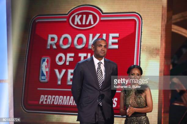 Grant Hill and Jada PinkettSmith presents the award for Kia NBA Rookie of the Year at the NBA Awards Show on June 26 2017 at Basketball City at Pier...