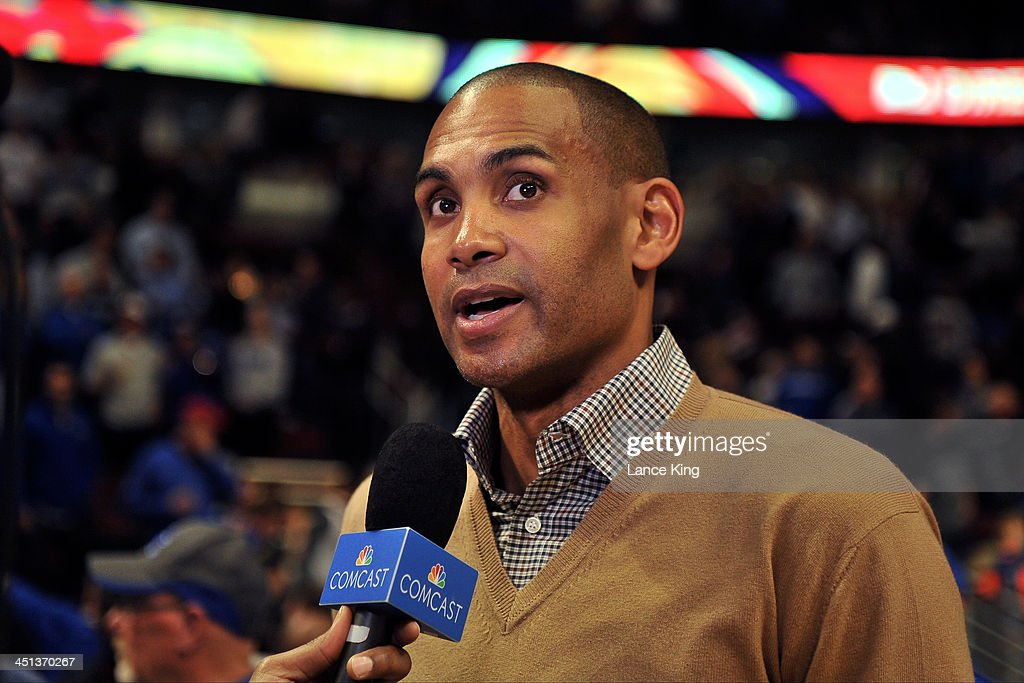 <a gi-track='captionPersonalityLinkClicked' href=/galleries/search?phrase=Grant+Hill+-+Basketball+Player&family=editorial&specificpeople=201658 ng-click='$event.stopPropagation()'>Grant Hill</a>, former NBA and Duke basketball player, is interviewed prior to a game between the Kansas Jayhawks and the Duke Blue Devils during the State Farm Champions Classic at the United Center on November 12, 2013 in Chicago, Illinois. Kansas defeated Duke 94-83.