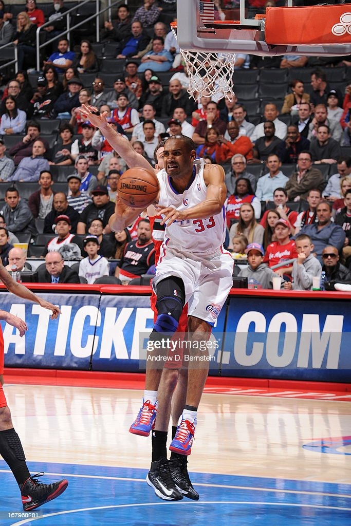 <a gi-track='captionPersonalityLinkClicked' href=/galleries/search?phrase=Grant+Hill+-+Basketball+Player&family=editorial&specificpeople=201658 ng-click='$event.stopPropagation()'>Grant Hill</a> #33 of the Los Angeles Clippers drives to the basket against the Portland Trail Blazers at Staples Center on April 16, 2013 in Los Angeles, California.