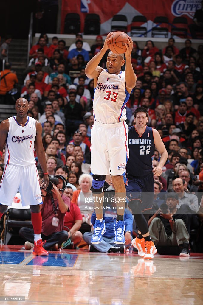 Grant Hill #33 of the Los Angeles Clippers grabs the ball in mid-air against the Charlotte Bobcats at Staples Center on February 26, 2013 in Los Angeles, California.