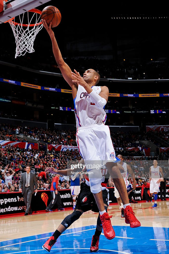 Grant Hill #33 of the Los Angeles Clippers shoots a layup against the Portland Trail Blazers at Staples Center on January 27, 2013 in Los Angeles, California.