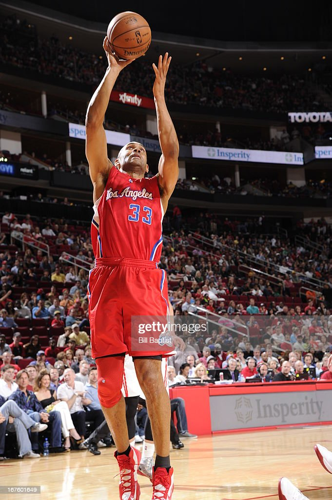 <a gi-track='captionPersonalityLinkClicked' href=/galleries/search?phrase=Grant+Hill+-+Basketball+Player&family=editorial&specificpeople=201658 ng-click='$event.stopPropagation()'>Grant Hill</a> #33 of the Los Angeles Clippers shoots against the Houston Rockets on March 30, 2013 at the Toyota Center in Houston, Texas.