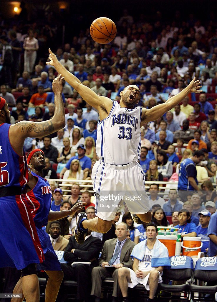 Grant Hill #33 of the Orlando Magic reacts after being fouled in the first half by Ronald Murray #6 of the Detroit Pistons in Game Four of the Eastern Conference Quarterfinals during the 2007 NBA Playoffs on April 28, 2007 at Amway Arena in Orlando, Florida.