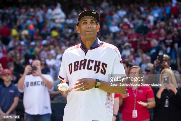 Grant Hill waits to throw out the ceremonial first pitch prior to the game against the Arizona Diamondbacks and San Francisco Giants on April 2 2017...