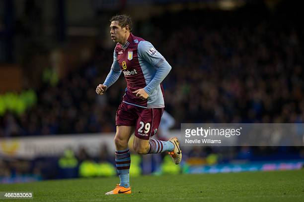 Grant Holt of Aston Villa during the Barclays Premier League match between Everton and Aston Villa at Goodison Park on February 01 2014 in Liverpool...