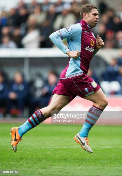 Grant Holt of Aston Villa during the Barclays Premier League match between Swansea City and Aston Villa at the Liberty Stadium on April 26 2014 in...