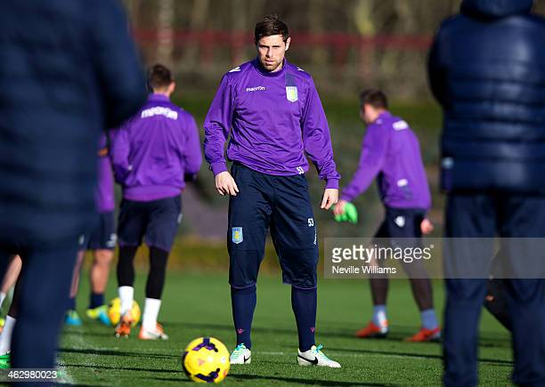 Grant Holt of Aston Villa in action during a Aston Villa training session at the club's training ground at Bodymoor Heath on January 16 2014 in...