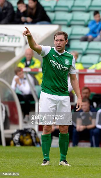 Grant Holt of Hibernian at Easter Road on July 10 2016 in Edinburgh Scotland