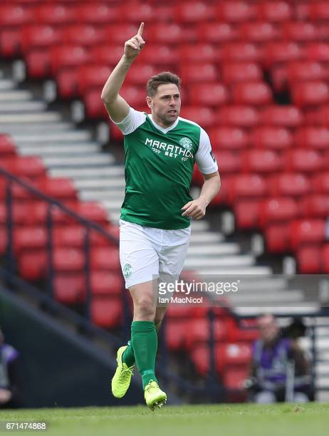 Grant Holt of Hibernian celebrates after scoring during the William Hill Scottish Cup semifinal match between Hibernian and Aberdeen at Hampden Park...