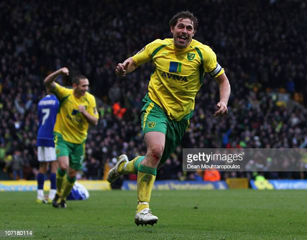 Grant Holt of Norwich celebrates scoring his third goal of the game during the npower Championship match between Norwich City and Ipswich Town at...