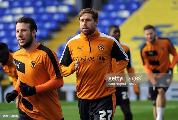 Grant Holt of Wolverhampton Wanderers warms up before the Sky Bet Championship match between Birmingham City and Wolverhampton Wanderers at St...