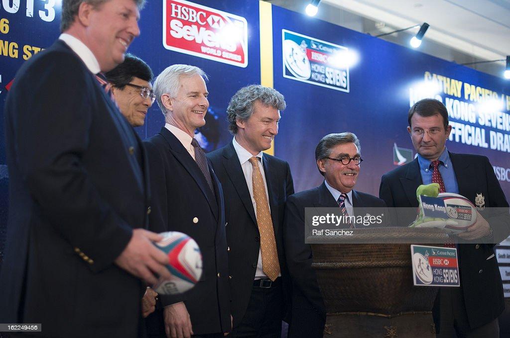 Grant Jamieson, Pang Chung, John Slosar, Gordon French, Brian Davidson & Rod Mason during the Cathay Pacific/HSBC Hong Kong Sevens 2013 Official Draw held at Hysan Place, on February 21, 2013 in Hong Kong.