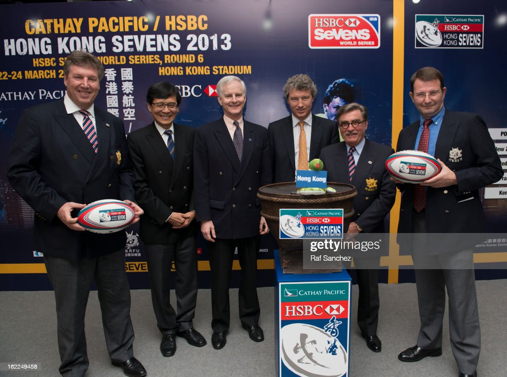 Grant Jamieson, Pang Chung, John Slosar, Gordon French, Brian Davidson & Rod Mason during the Cathay Pacific/HSBC Hong Kong Sevens 2013 Official Draw held at Hysan Place, on February 21, 2013 in Hong Kong.