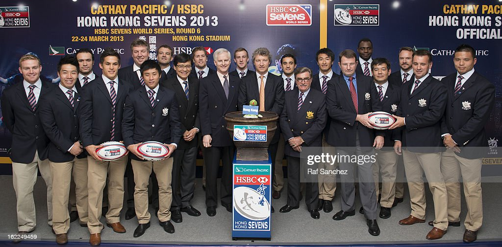 Grant Jamieson, Pang Chung, John Slosar, Gordon French, Brian Davidson & Rod Mason pose with members of the Hong Kong rugby squads during the Cathay Pacific/HSBC Hong Kong Sevens 2013 Official Draw held at Hysan Place, on February 21, 2013 in Hong Kong.