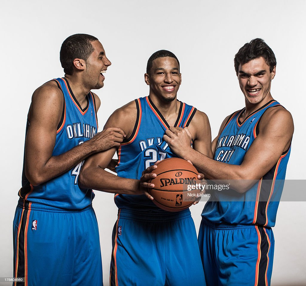 Grant Jerrett #47, Andre Roberson #21, and Steven Adams #12, of the Oklahoma City Thunder pose for a portrait during the 2013 NBA rookie photo shoot at the MSG Training Center on August 6, 2013 in Greenburgh, New York.