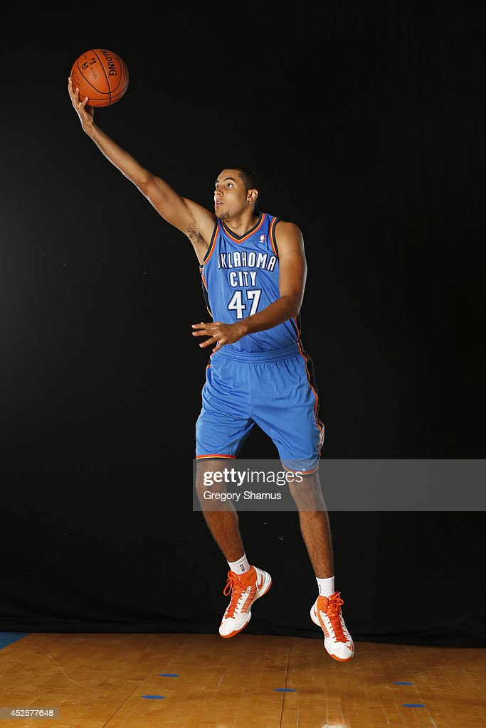 Grant Jerrett #47 of the Oklahoma City Thunder poses for a portrait during the 2013 NBA rookie photo shoot on August 6, 2013 at the Madison Square Garden Training Facility in Tarrytown, New York.