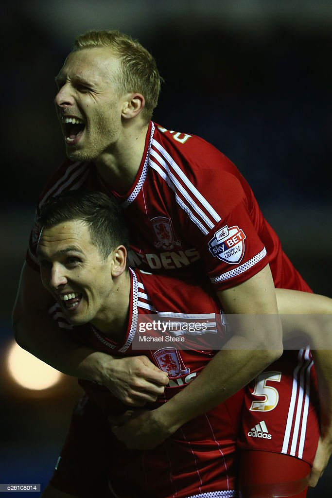 Grant Leadbitter and <a gi-track='captionPersonalityLinkClicked' href=/galleries/search?phrase=Stewart+Downing&family=editorial&specificpeople=238961 ng-click='$event.stopPropagation()'>Stewart Downing</a> of Middlesbrough celebrate their ides second goal during the Sky Bet Championship match between Birmingham City and Middlesbrough at St Andrews on April 29, 2016 in Birmingham, United Kingdom.
