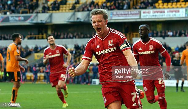 Grant Leadbitter celebrates his goal for Middlesborough during the Sky Bet Championship match between Wolverhampton Wanderers and Middlesborough at...