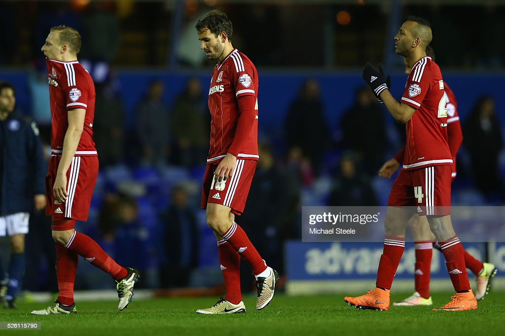 Grant Leadbitter (L) Cristian Stuani (C) and Daniel Ayala (R) of Middlesbrough after their sides 2-2 draw during the Sky Bet Championship match between Birmingham City and Middlesbrough at St Andrews on April 29, 2016 in Birmingham, United Kingdom.