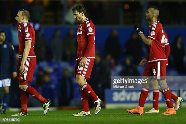 Grant Leadbitter Cristian Stuani and Daniel Ayala of Middlesbrough after their sides 22 draw during the Sky Bet Championship match between Birmingham...