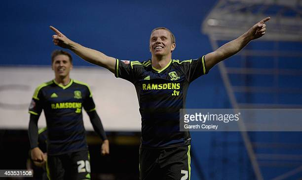Grant Leadbitter of Middlesbrough celebrates scoring his team's second goal during the Capital One Cup First Round match between Oldham Athletic and...