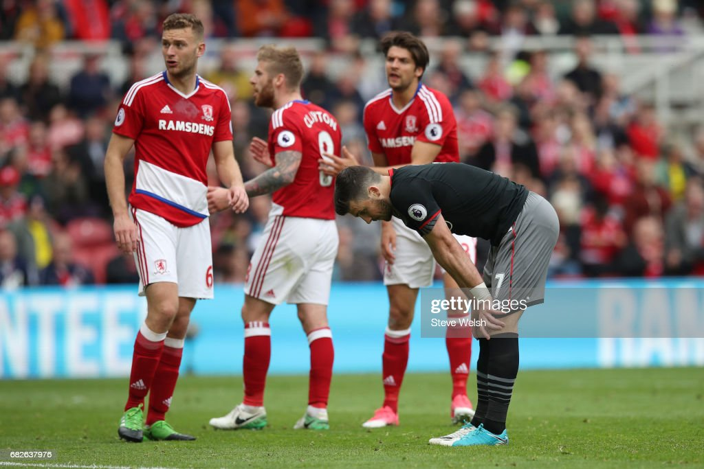 Grant Leadbitter of Middlesbrough reacts to missing a penalty during the Premier League match between Middlesbrough and Southampton at Riverside Stadium on May 13, 2017 in Middlesbrough, England.