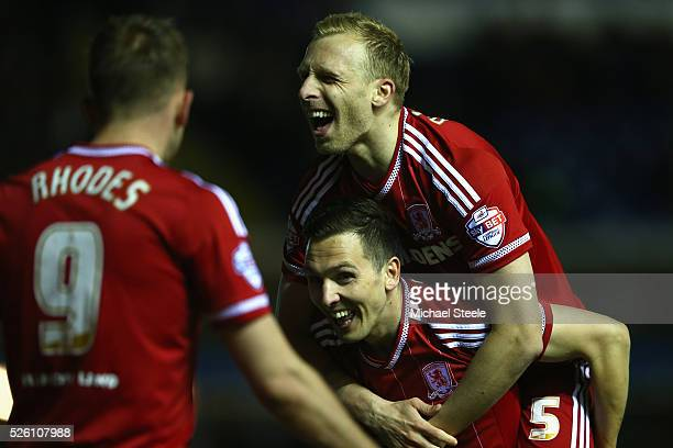 Grant Leadbitter Stewart Downing and Jordan Rhodes of Middlesbrough celebrate their ides second goal during the Sky Bet Championship match between...