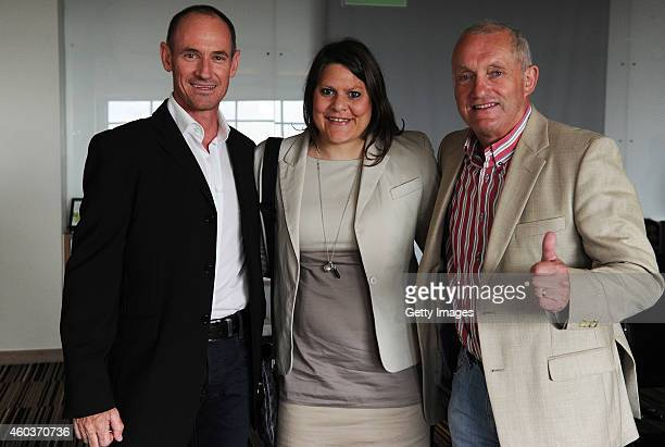 Grant Lottering Natalie du Toit and John Robbie pose for a photograph during the graduation ceremony of Laureus YES leaders held at the Southern Sun...