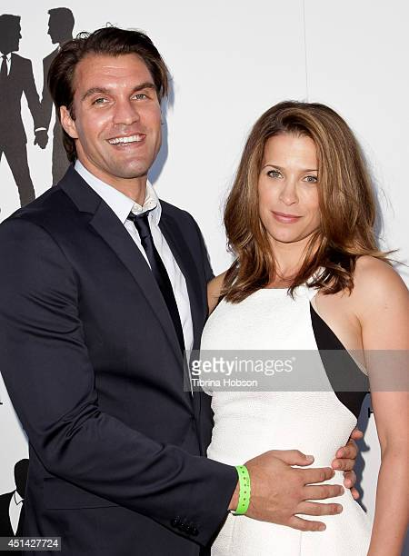 Grant Mattos and wife Christina Cox attend the wedding Ccelebration of Paul Katami and Jeff Zarrillo at The Beverly Hilton Hotel on June 28 2014 in...