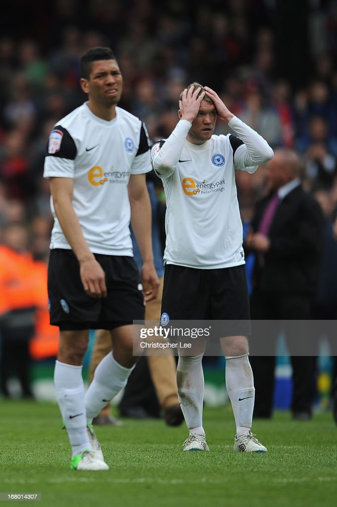 Grant McCann of Peterborough looks dejected after they are relegated during the npower Championship match between Crystal Palace and Peterborough United at Selhurst Park on May 04, 2013 in London, England.