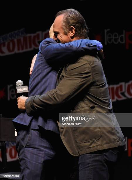 Grant Morrison and Christopher Meloni speak at The Happy Panel during 2017 New York Comic Con Day 3 on October 7 2017 in New York City