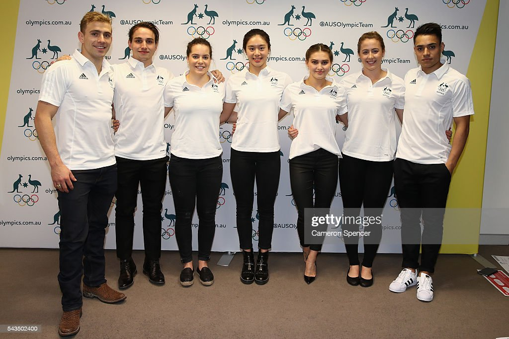 Grant Nel, Domonic Bedggood, Annabelle Smith, Esther Qin, Melissa Wu, Brittany Broben and Kevin Chavez pose during the Australian Olympic Games diving team announcement at the Museum of Contemporary Art on June 29, 2016 in Sydney, Australia.