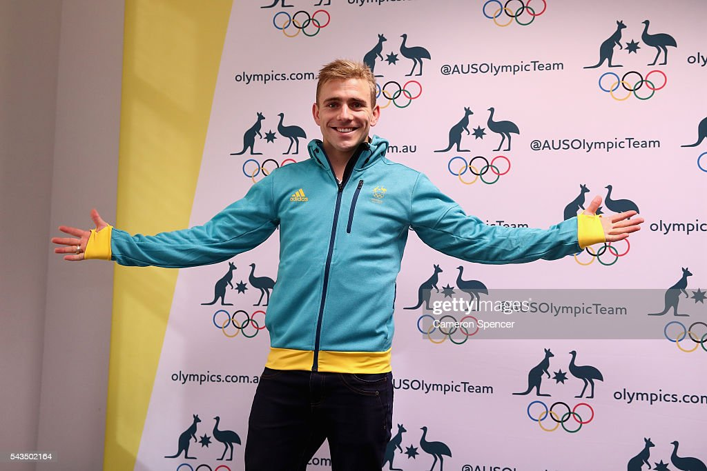 <a gi-track='captionPersonalityLinkClicked' href=/galleries/search?phrase=Grant+Nel&family=editorial&specificpeople=2584826 ng-click='$event.stopPropagation()'>Grant Nel</a> models his new Olympic kit during the Australian Olympic Games diving team announcement at the Museum of Contemporary Art on June 29, 2016 in Sydney, Australia.