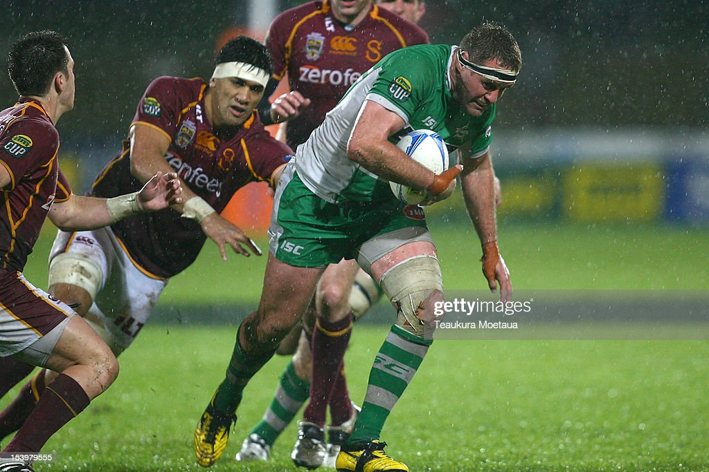 Grant Polson of Manawatu makes a break during the round 15 ITM Cup match between Southland and Manawatu at Rugby Park Stadium on October 12 2012 in...