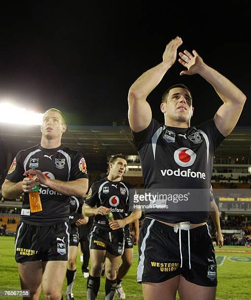 Grant Rovelli and George Gatis of the Warriors thank the crowd after losing the NRL qualifying final match between the Warriors and the Parramatta...