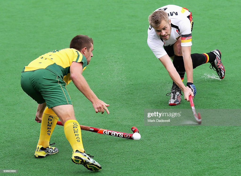 Grant Schubert of Australia in action against Maximillian Muller of Germany in the match between Germany and Australia during day four of the 2009...