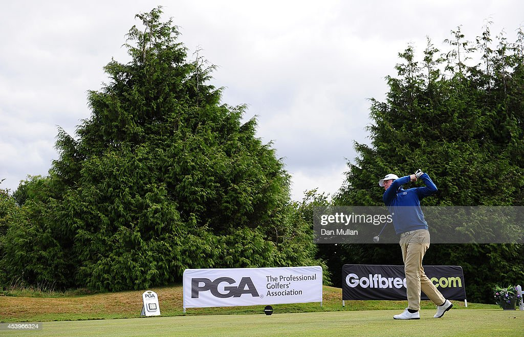 Grant Slater of Trevose Golf Country Club plays a shot on the 1st hole during day three of the Golfbreakscom PGA Fourball Championship at St Mellion...