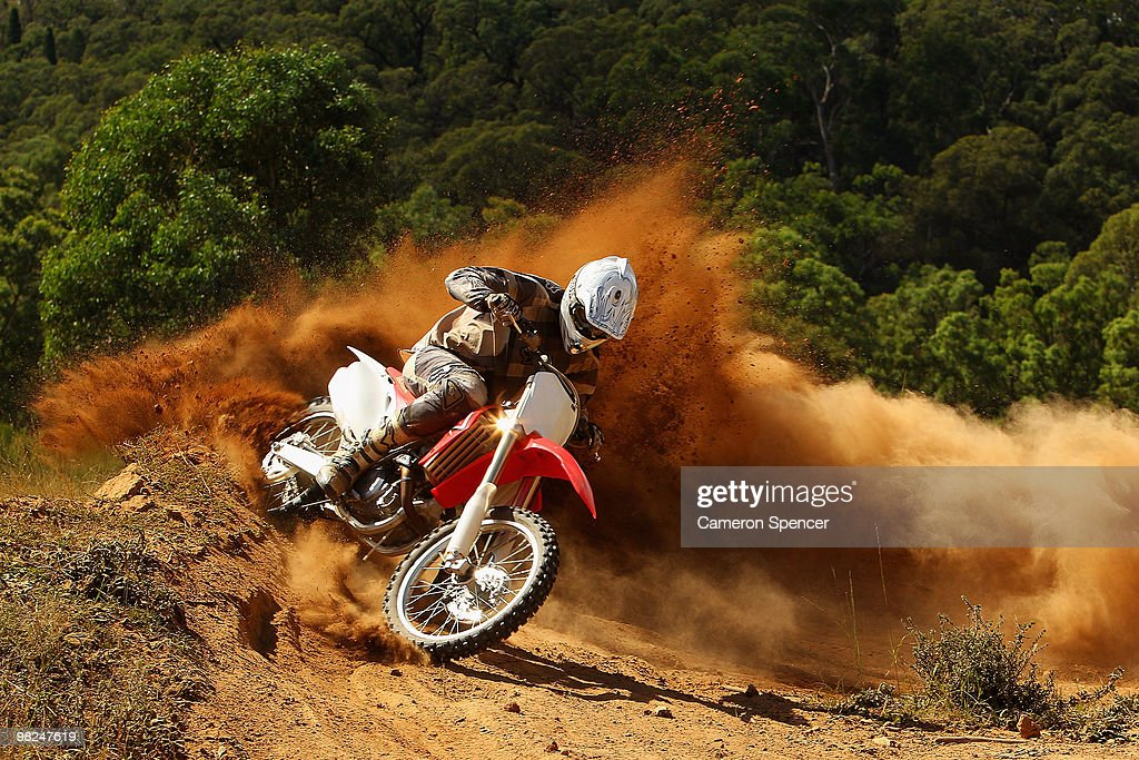 Grant Snow rides a berm during the Rocky Valley motocross weekend on April 4 2010 in Mudgee Australia Rocky Valley is a private farm located outside...